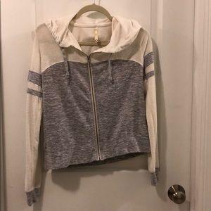 Grey and white Aeropostale hoodie
